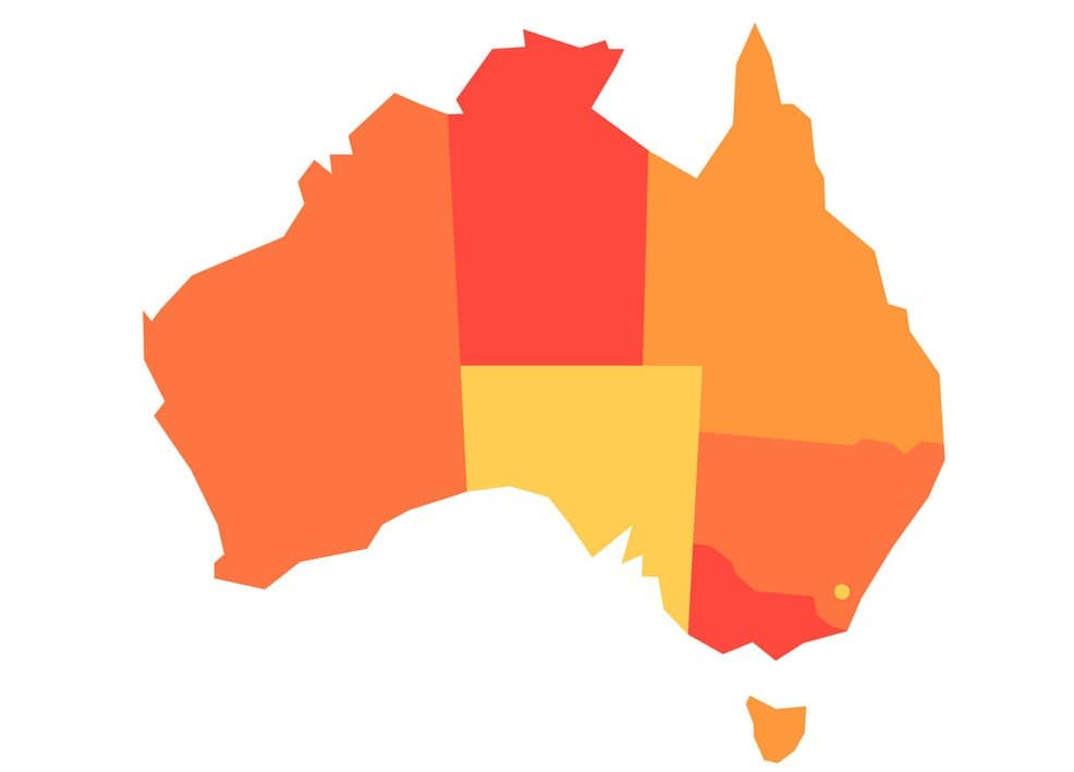 Orange blank map of Australia. Vector illustration
